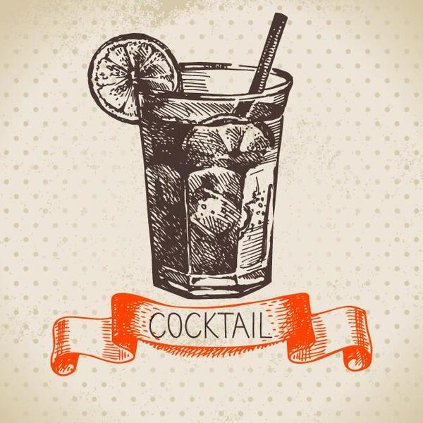 Cocktails with retro ribbon banner vector