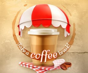 Coffee with old wall background vector