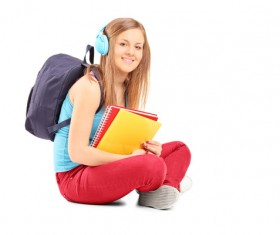 College girl wearing headphones Stock Photo