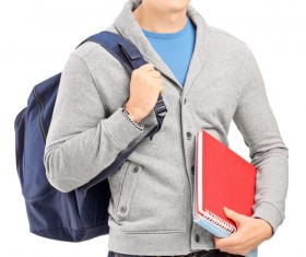 College student carrying school bag Stock Photo