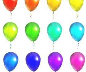 Colored balloon illustration vector set 01