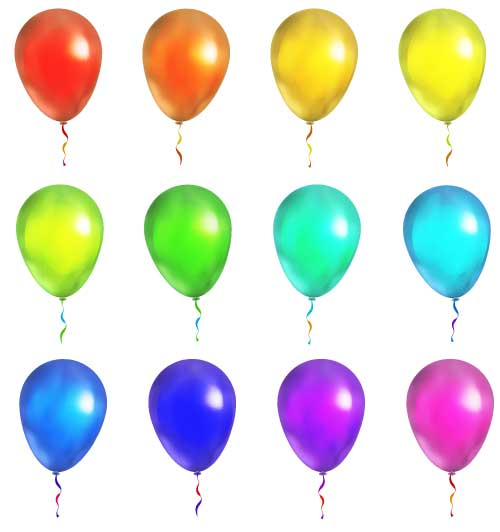 Colored balloon illustration vector set 01