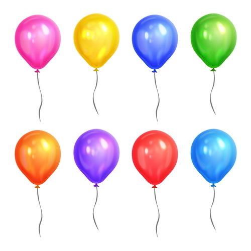 Colored balloon illustration vector set 02