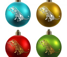 Colored christmas balls with floral dog vector 01