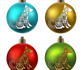 Colored christmas balls with floral dog vector 02