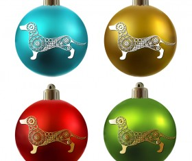 Colored christmas balls with floral dog vector 03