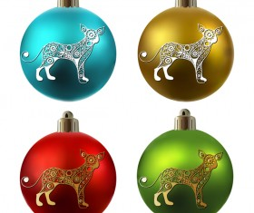 Colored christmas balls with floral dog vector 04