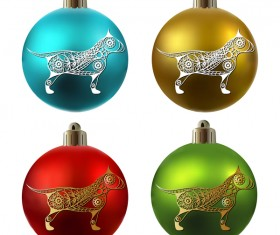 Colored christmas balls with floral dog vector 06