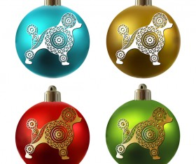 Colored christmas balls with floral dog vector 07