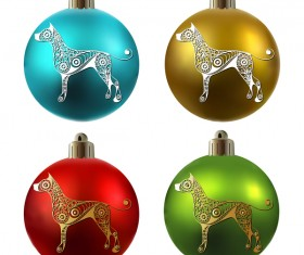 Colored christmas balls with floral dog vector 10