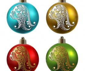Colored christmas balls with floral dog vector 11