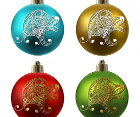 Colored christmas balls with floral dog vector 12
