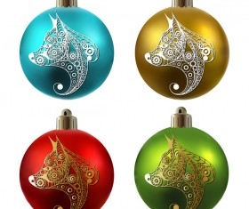 Colored christmas balls with floral dog vector 13