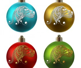 Colored christmas balls with floral dog vector 14