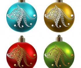 Colored christmas balls with floral dog vector 15