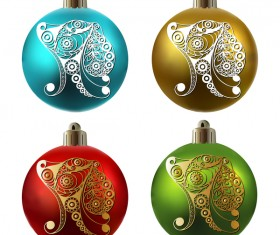 Colored christmas balls with floral dog vector 16