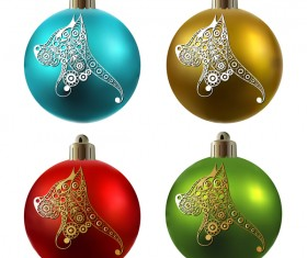 Colored christmas balls with floral dog vector 17