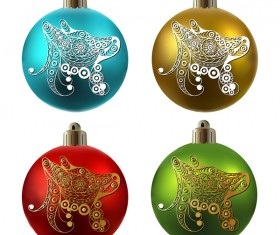 Colored christmas balls with floral dog vector 18