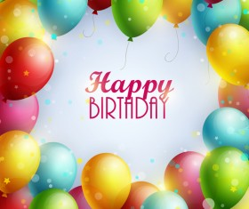 Colorful balloon frame with birthday background vector