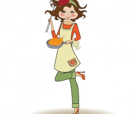 Cooking housewife vector material 02