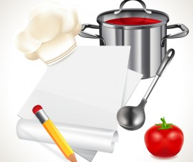 Cooking notes with tomato vector