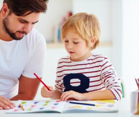 Counseling children learning father Stock Photo