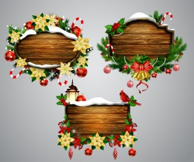 Creative christmas wooden frame vector set 01