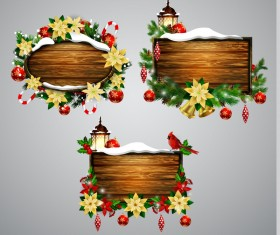 Creative christmas wooden frame vector set 02