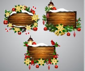 Creative christmas wooden frame vector set 02