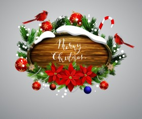 Creative christmas wooden frame vector set 03