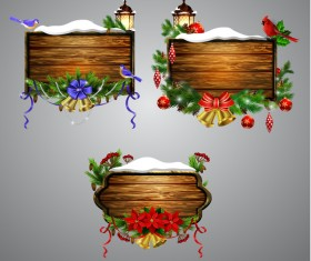 Creative christmas wooden frame vector set 04