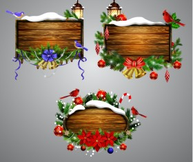 Creative christmas wooden frame vector set 05