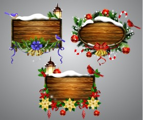 Creative christmas wooden frame vector set 06