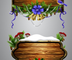 Creative christmas wooden frame vector set 07