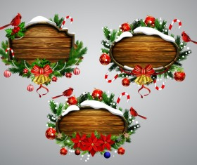 Creative christmas wooden frame vector set 08