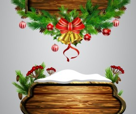 Creative christmas wooden frame vector set 09