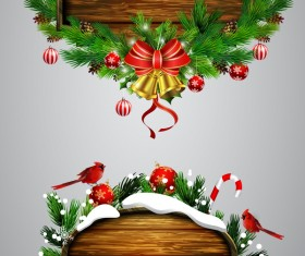 Creative christmas wooden frame vector set 10