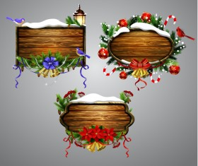 Creative christmas wooden frame vector set 11