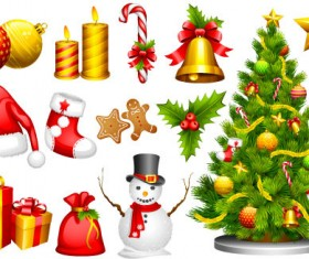 Cute christmas decorative set vector