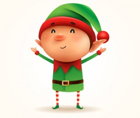 Cute christmas elf illustration vector