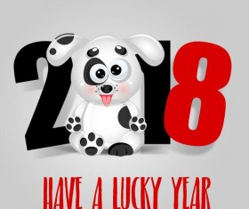 Cute dog with 2018 new year background vector