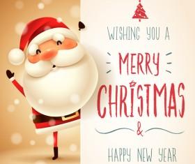 Cute santa sign with christmas card vectors 01