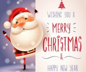 Cute santa sign with christmas card vectors 02