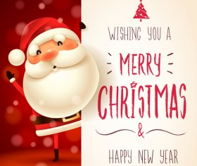 Cute santa sign with christmas card vectors 03