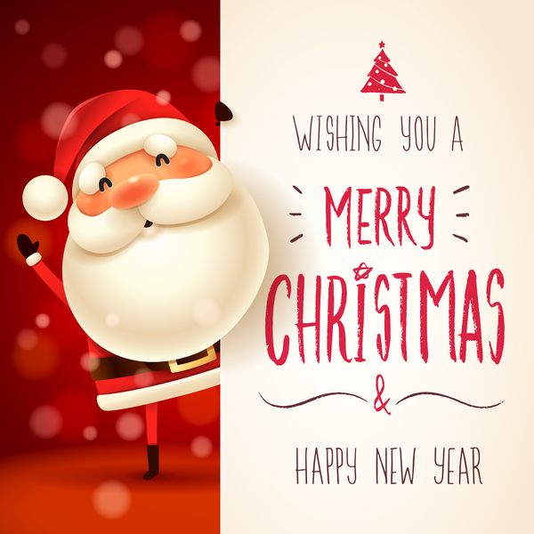 Superbe Cute Santa Sign With Christmas Card Vectors 03