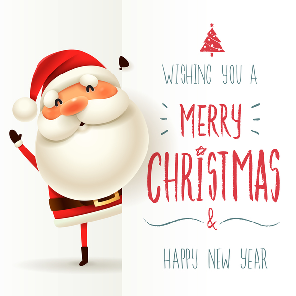 cute santa sign with christmas card vectors 04 - How To Sign A Christmas Card