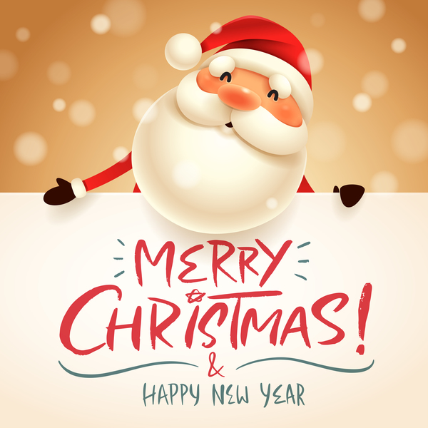 cute santa sign with christmas card vectors 05 - How To Sign A Christmas Card