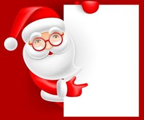 Cute santa with christmas blank background vector 01