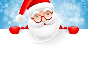 Cute santa with christmas blank background vector 02