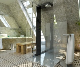 Design of washing room with stereo sense Stock Photo